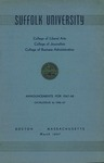 Suffolk University Academic Catalog and Announcements, College of Liberal Arts, College of Journalism, and College of Business Administration, 1946-1947