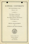 Suffolk University Academic Catalog, College of Liberal Arts, College of Journalism, College of Business Administration, and The Pre-Legal Courses, Mid-year Bulletin and Announcements for Veterans and non-veterans, 1947
